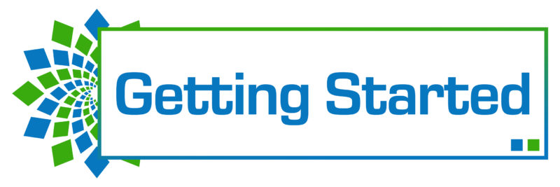 Getting started text written over green blue background.