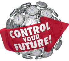 Control Your Future words on a red arrow around a sphere of cloc