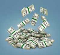 Pile Of Money American Dollar Bills On Gradient Background 3D Re