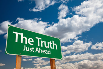 The Truth, Just Ahead Green Road Sign with Copy Room Over The Dr