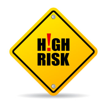 High risk sign isolated on white background