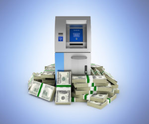 Atm Surrounded By 100 Dollar Bankrolls Bank Cash Machine In Pile