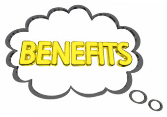 Benefits Thought Cloud Features Compensation Word 3d Illustratio