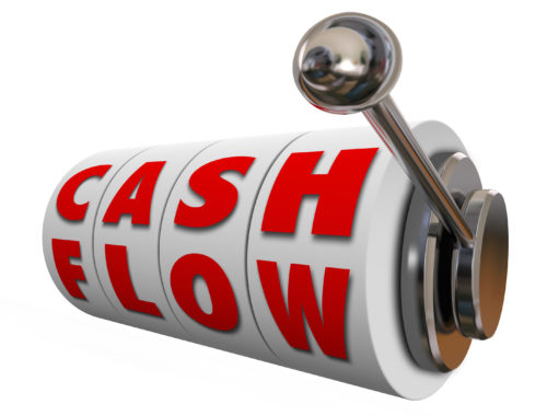 Cash Flow words on slot machine wheels or dials as money or inco
