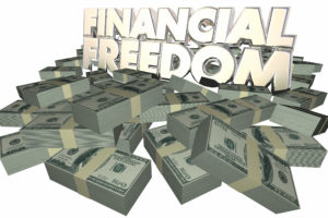 Financial Freedom Money Cash Piles Independence Savings Wealth R