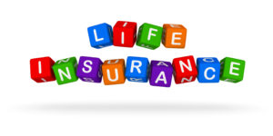 Life Insurance Colorful Sign. Multicolor Toy Blocks 3D illustrat
