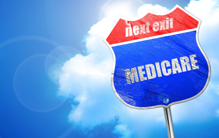 medicare, 3D rendering, blue street sign