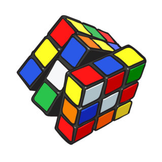 Colorful cube combination puzzle, popular 3D toy from 90s, sketch style, hand drawn illustration isolated on white background. Realistic hand drawn, sketch style retro, vintage Rubic cube