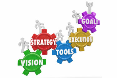 Vision, Strategy, Tools, Execution and Goal words on gears and people climbing, rising or increasing level or status to reach success