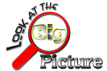 Magnifying glass enlarging the word BIG displaying the message to look at the big picture