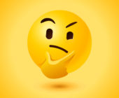 Thinking face with thought expression as vector icon with yellow background.